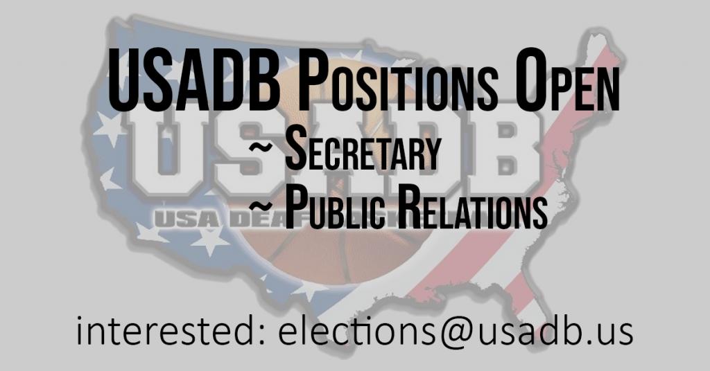USADB Posisions Open: Secretary Public Relations